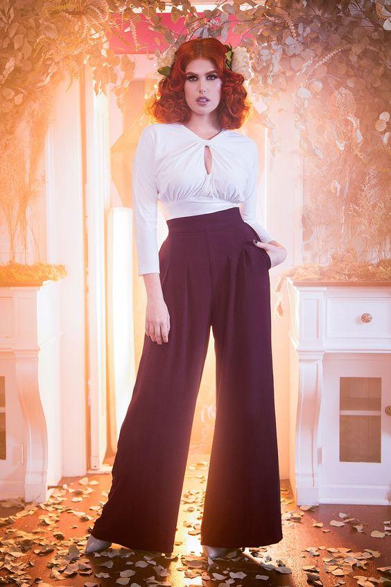Laura Byrnes California Doris Pants in Chocolate Brown Crepe