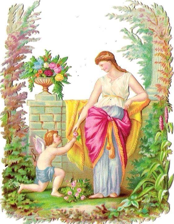 Oblaten Glanzbild scrap die cut chromo Engel angel Amor cupid Lady Dame femme