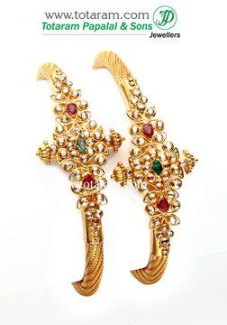 Totaram Jewelers: Buy 22 karat Gold jewelry & Diamond jewellery from India: Diamond Kadas Code : GK348