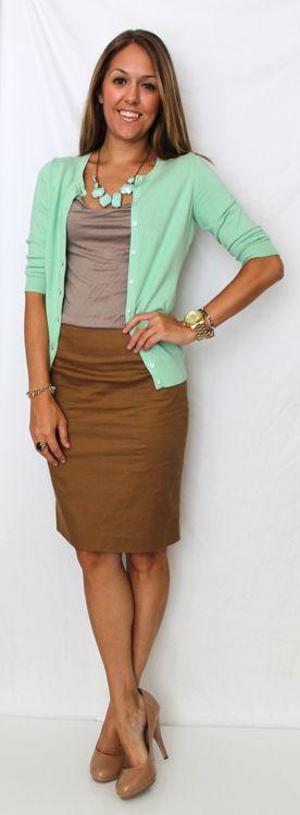 mint cardigan, tan/beige top, chocolate/taupe/caramel skirt