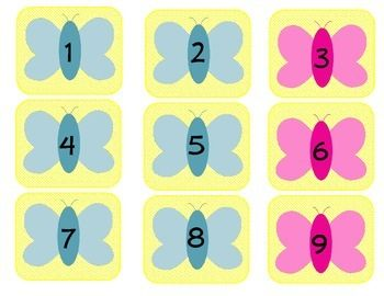 """June  calendar numbers set included the numbers 1-30 plus extra blank ones.  The set consists of butterflies which create an abbabb pattern.  The squares measure 2.5"""" x 3"""" in size.*Clip art from: www.mycutegraphics.com."""