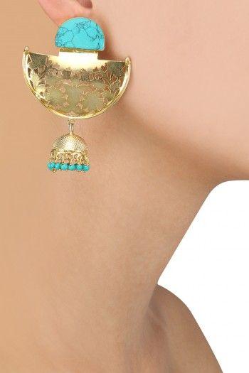 Zevar by Geeta Gold Dipped Half Moon Jaali Jhumki Earrings