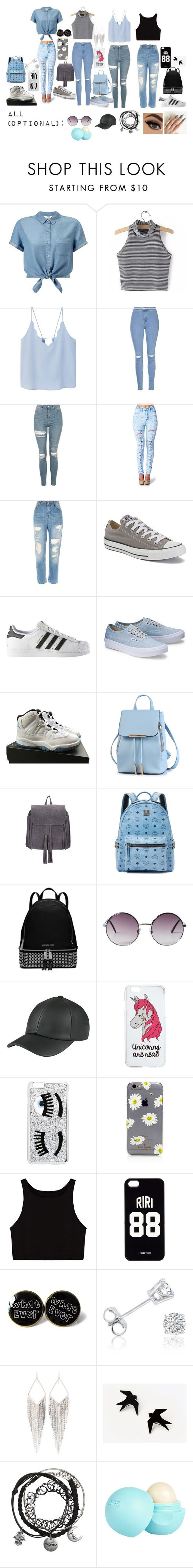 """""""Squad Outfit and Accessories No. 2"""" by rosehemmingsxi on Polyvore featuring Miss Selfridge, MANGO, Glamorous, Topshop, River Island, Converse, adidas, NIKE, MCM and MICHAEL Michael Kors"""