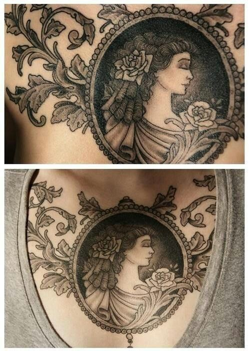 Cameo chest tattoo