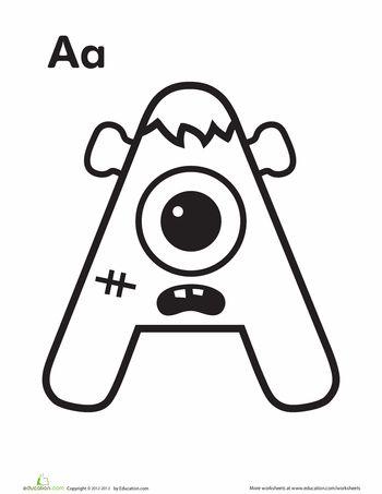 Monster A Worksheet Education Com Alphabet Preschool Halloween Preschool Monster Coloring Pages