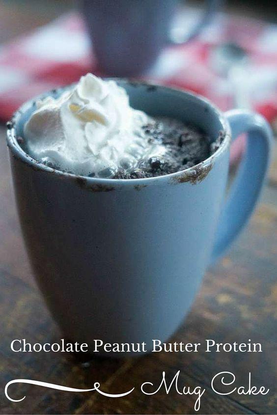 Chocolate Peanut Butter Protein Mug Cake | Recipe | Protein Mug Cakes ...