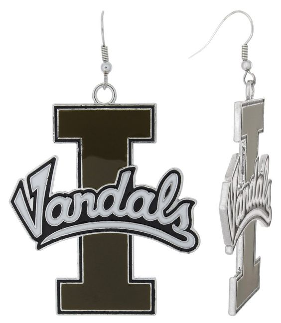 XXL Old Gold and White Enamel Idaho Vandals Game Day Fish Hook Earrings