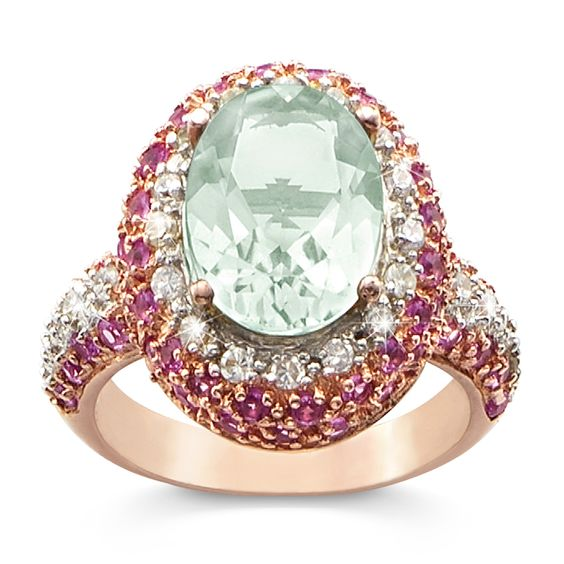 Rose Gold-over-Sterling Silver 4-Carat Genuine Green Amethyst Daydream Ring