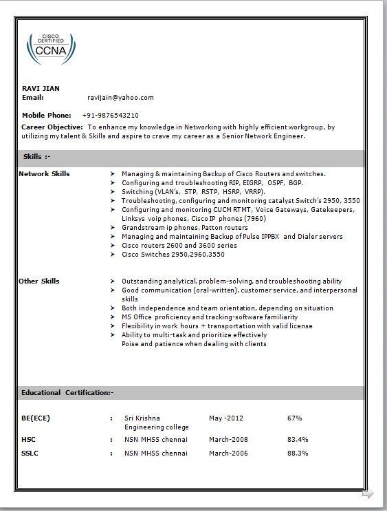 Network Engineer Resume Format 2020 Network Engineer Engineering Resume Sample Resume