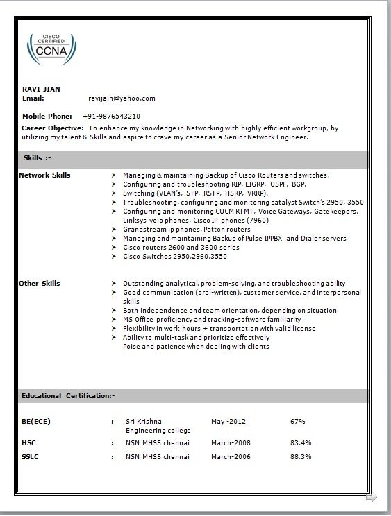 Network Engineer Resume Format Best Network Engineer Resume Format Resume Headline For Network Engineer Network Engineer Engineering Resume Resume Examples
