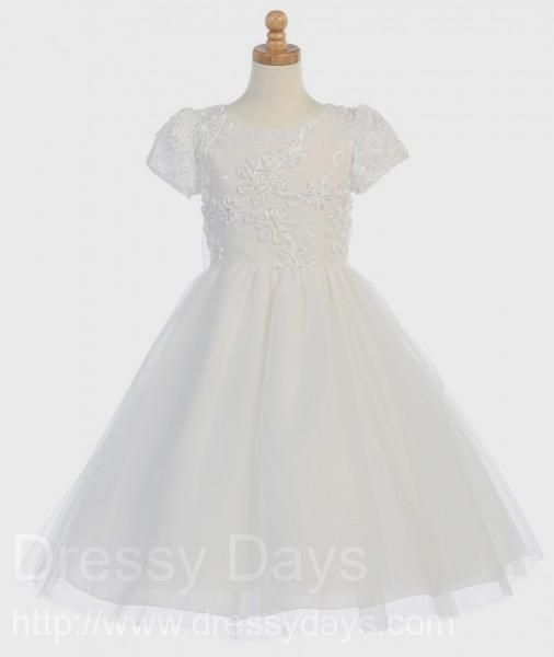 First Communion Dress - Ribbon Embroidered Tulle Bodice