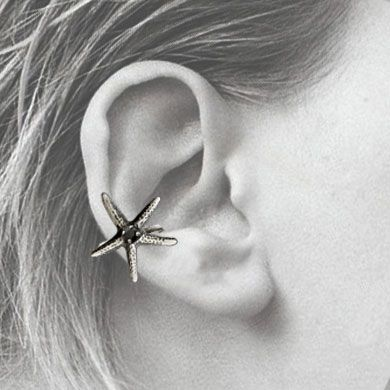 Starfish Cuff Earring in Black Spinel