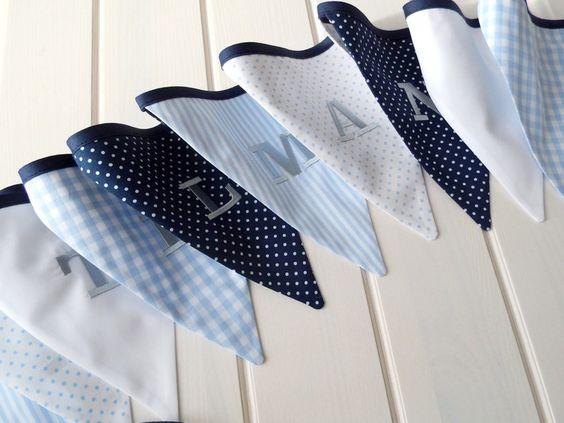 Dekoration - Wimpelkette mit Namen, hellblau marine weiß - ein Designerstück von Le-Petit-Villa bei DaWanda