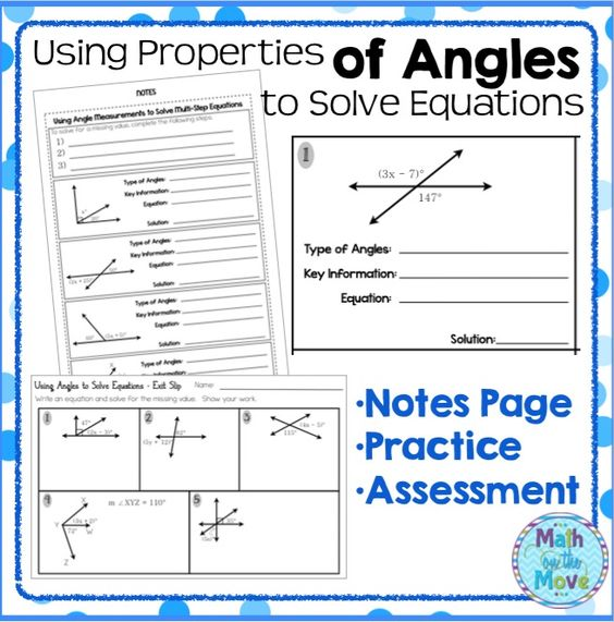 Using Angle Properties to Solve Equations Notes and Practice – Adjacent Angles Worksheet