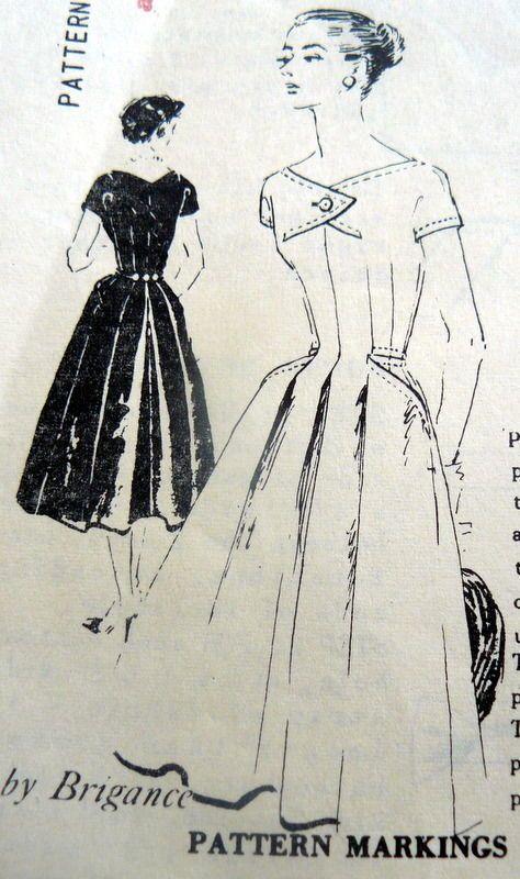 LOVELY VTG 1950s DRESS SPADEA DESIGNER BRIGANCE Sewing Pattern 16/38