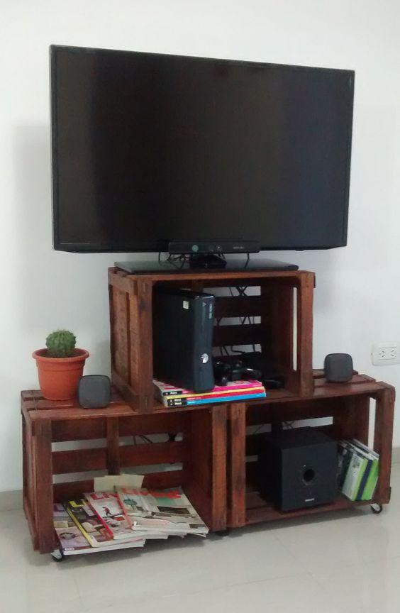 mueble para led con cajones reciclados reciclando