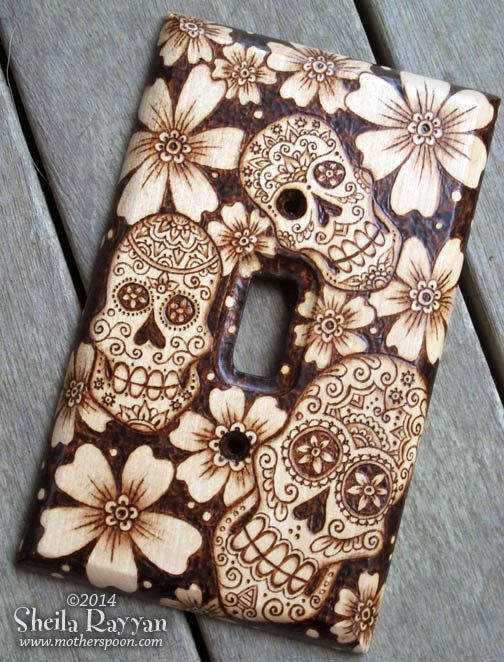 Sugar Skull Switchplate Wood Pyrography Home Decor