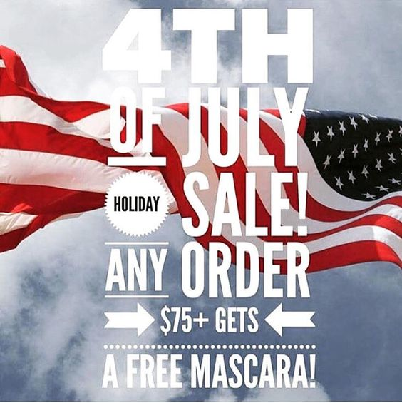 Fourth of July sale, spend $75.00 + and receive a free 3D Fiber Lash Mascara from me!