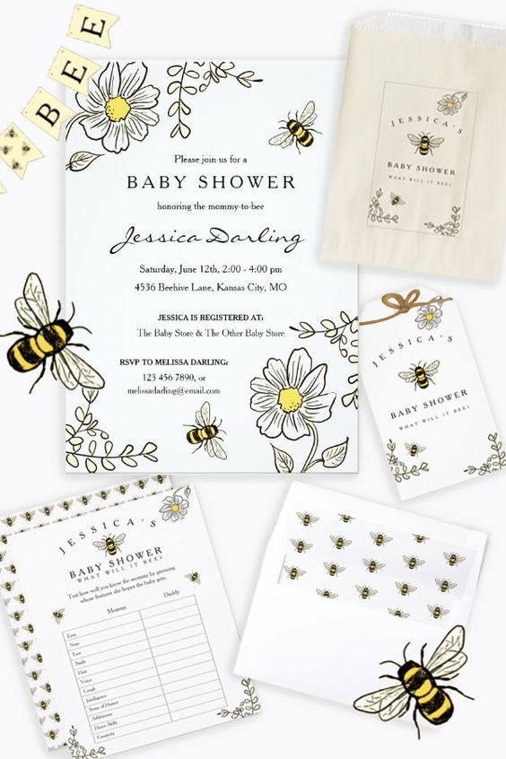 Sweet honey bee theme for Mommy to bee - cute yellow and black honey bees for a bee theme baby shower!  Collection includes invitations, thank you notes, baby shower games, envelope liners, bunting flags, gift tags, favor bags, balloons, plates, napkins and more!