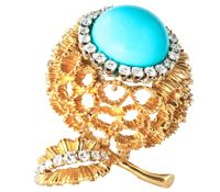 18k_Vintage_Brooch_With_Turquoise&Diamond_Accents