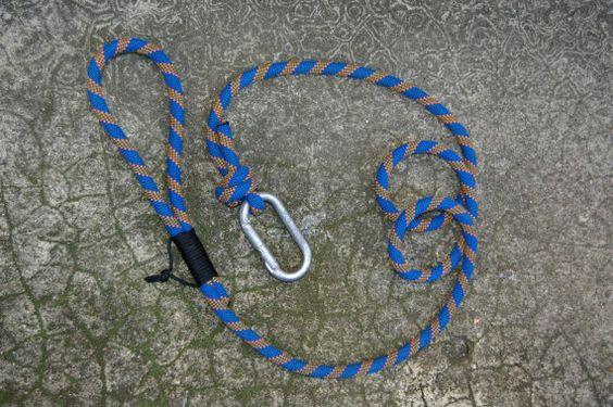Blue/Orange  Upcycled Climbing Rope Dog Leash by UnorthodoxHiker, $16.95