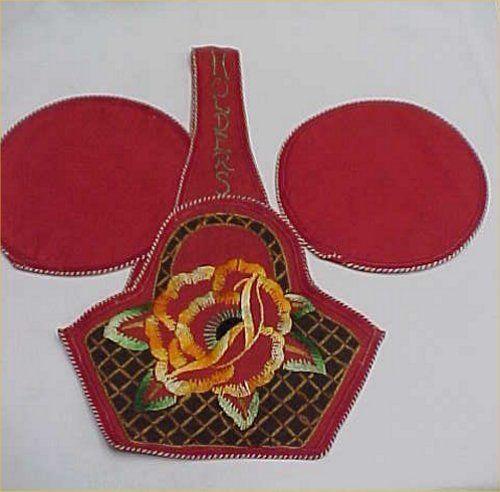 3 Pc Vintage Antique Hand Embroidered Potholder Basket 1940s