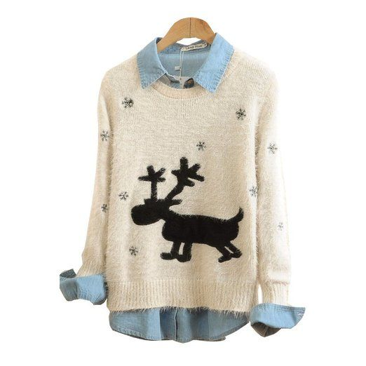 Lana Hua Christmas Sweater Rudolph Reindeer in Snow Sweatshirt Limited Edition 2014 (Beige): Christmas Gifts