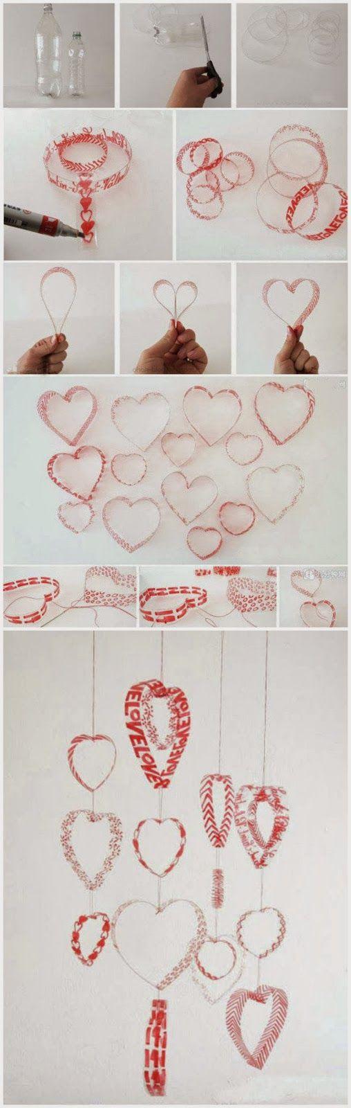 Costuretas Social Club: Tutorial : Reciclando plástico - móvil de corazones