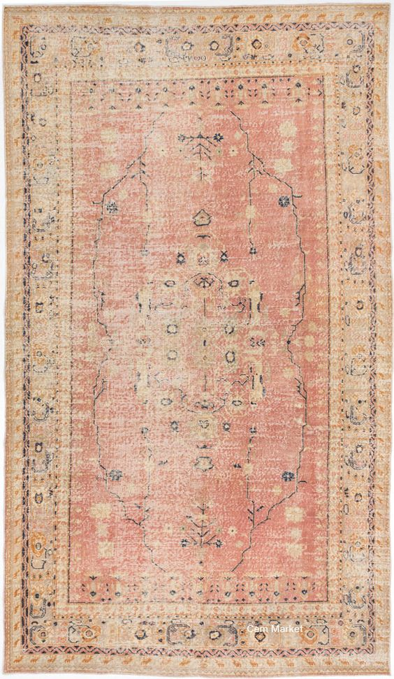 Pink Peach Pastel Turkish Overdyed Rug 6'3 x 11'0 by CemMarket: