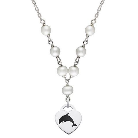 Alpha Omega Symbol Tin Cup Pearl Necklace With Heart Charm