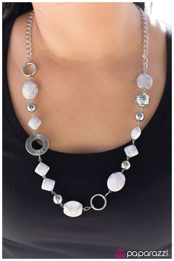 Oh, Baby! $5.00  Product Description Smooth white and gray beads in a subtle faux rock finish combine with silver rings and accents along a silver chain.  Sold as one individual necklace. Includes one pair of matching earrings.