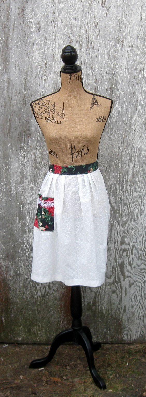 White half apron vintage - Apron Half Apron Vintage Half Apron Poinsettia By Normastreasures