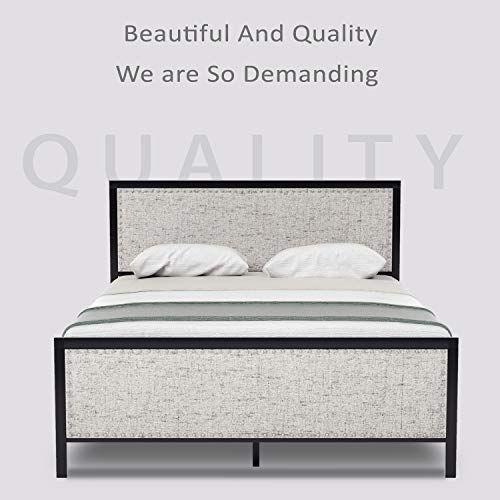 Urest Full Size Bed Frame With Upholstered Headboard Platform