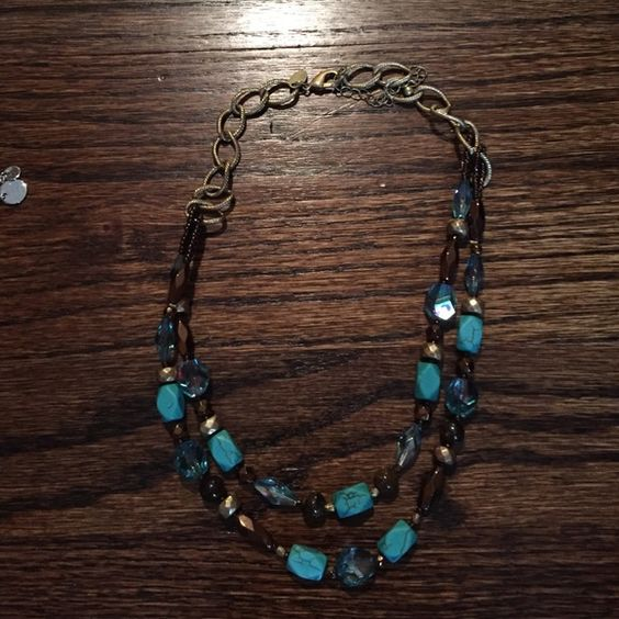 Lia Sophia Necklace Gold Necklace with turquoise and brown accents Lia Sophia Jewelry Necklaces