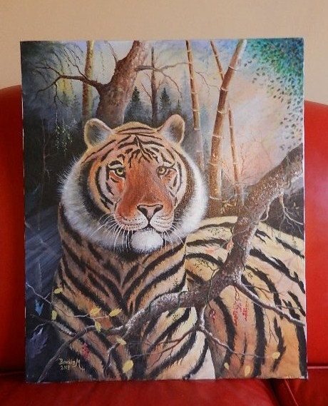 """This is a wonderful painting of a tiger which I purchased from an estate. Oil on canvas, signed by the artist. The colors are vibrant. This original piece of art is in excellent condition. Signed by """"Bonnie M"""" Measures 24"""" H X 20"""" W The Lisa LePaige Collection has been featured on the Gem Shopping Network, GoAntiques, Today's Shopping Network & WLRN Art & Antique Auction free shipping in the U.S.! $95 www.buyrarestuff.com"""