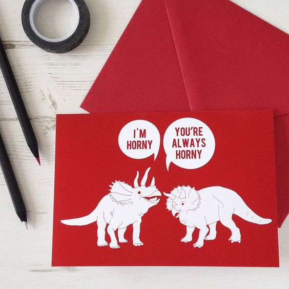 horny dinosaurs valentines card by newton and the apple   notonthehighstreet.com