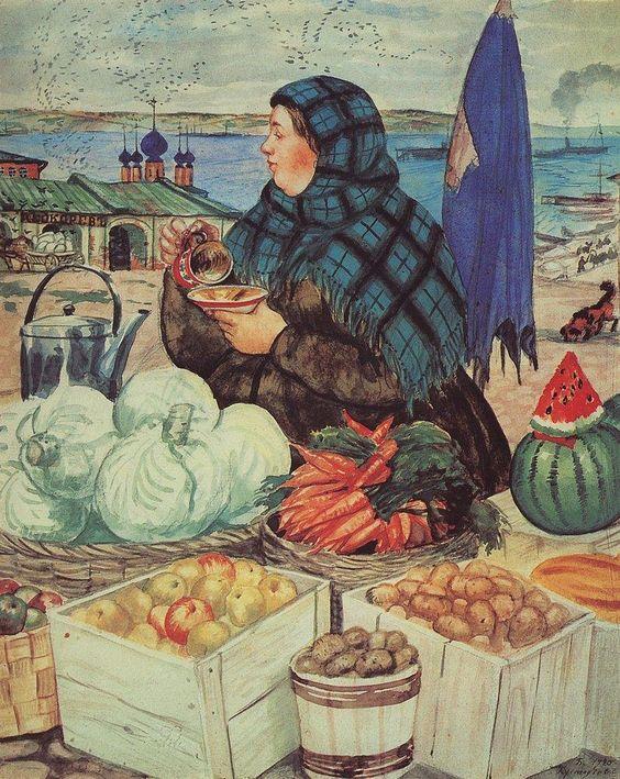 Boris Kustodiev (Russia, 1878~1927) :: 1920 Vegetables Merchant Drinking Tea