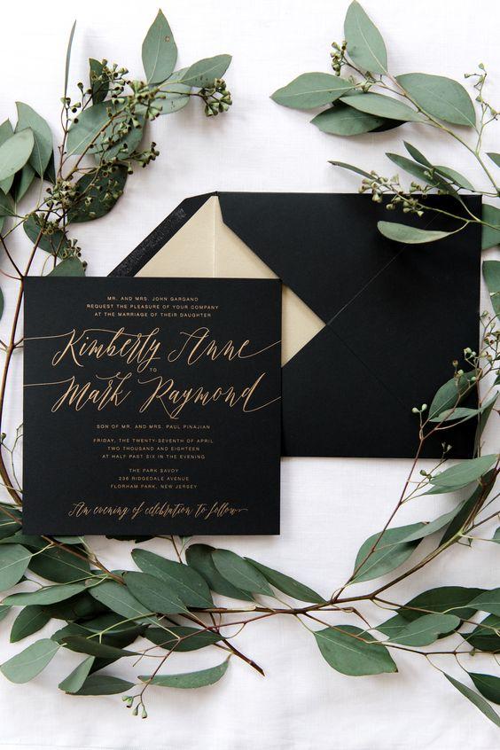 Romantic black and gold wedding invitation suite.