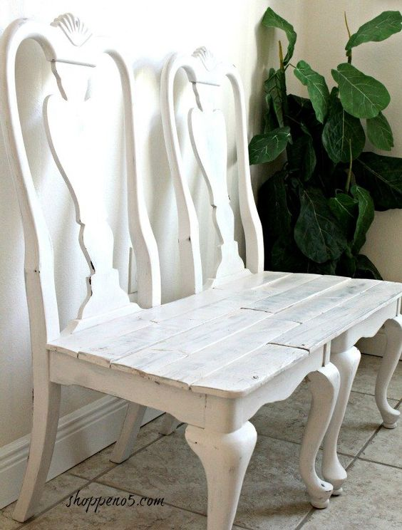 #diylikeaboss Curbside Chairs Remade Into a Bench.(Take backs off and have a table, or two end tables.)
