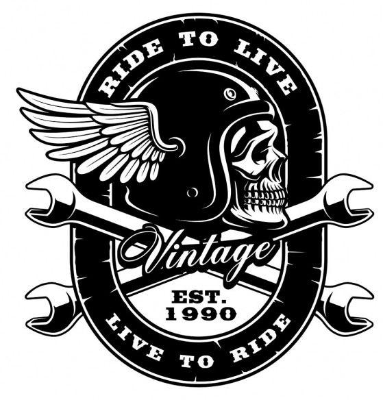 Biker Skull In Helmet With Crossed Wrench Created By Harry Kasyanov Vintagelogos Vintage Logos Cafe Biker Logo Biker Art Motorcycle Art