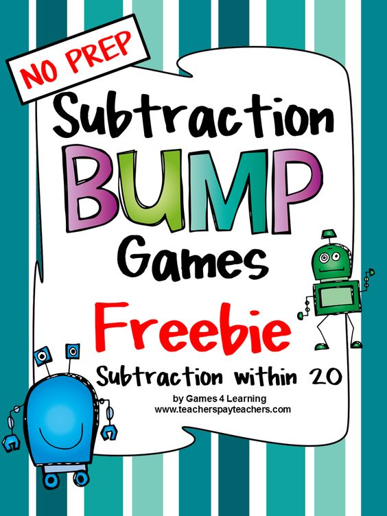 FREEBIES -Subtraction fun with these Subtraction Bump Games - printable NO PREP games for subtraction within 20 by Games 4 Learning