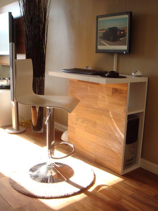 Tall And Sleek Workstation Tucks Away Desktop Tower Modern Computer Desk Computer Desk Design Home Office Furniture