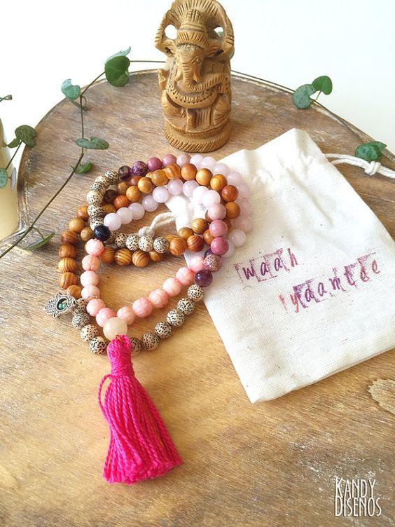 japa!   108 Mala Necklace wrap bracelet with tassel & Hamsa charm. Raja Kaju Amethyst Lotus seed Pink Quartz mala. Yoga Necklace, Meditation Jewelry