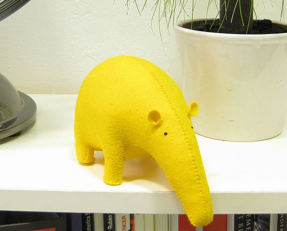 Yellow TAPIR · Stuffed hand sewed decorative toy  von Olula auf DaWanda.com