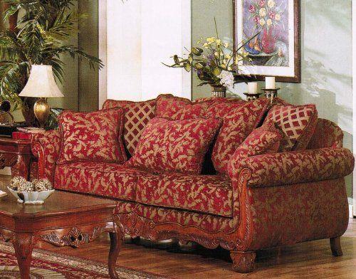 Image result for red flower brocade sofa
