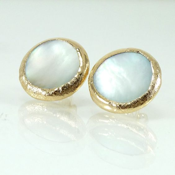 small shell earrings, simple everyday, white feminine  jewelry,framed stone, 24k gold stud earrings.