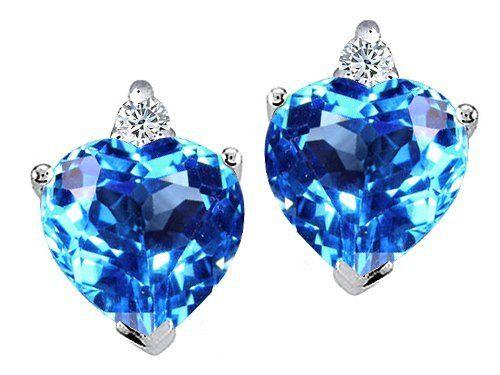 Tommaso Design(tm) Heart Shape Blue Topaz and Genuine Diamonds Earring Studs in 14 kt White Gold Tommaso design Studio, http://www.amazon.com/gp/product/B0019SU8UY/ref=cm_sw_r_pi_alp_.E3jqb1JPVPXP