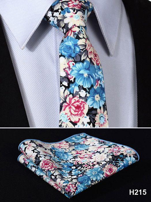 """Floral 3.4"""" 100%Silk Wedding Jacquard Woven Men Tie Necktie Pocket Square Handkerchief Set Suit  #H2"""