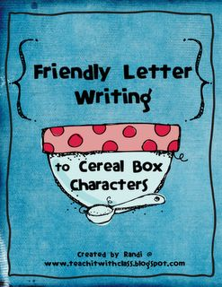 Write friendly letters to cereal box characters