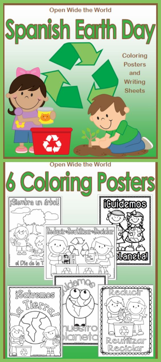 For SPANISH dual language / immersion programs. Decorate your Spanish classroom with Earth Day coloring posters. Six versions for your students to choose from. Plus Earth Day themed writing sheets and a brainstorm prompt. ($)